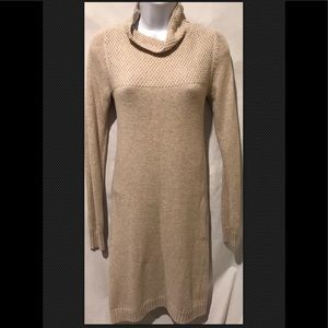 BODEN Cotton Cashmere Beige Sweater Dress Mock